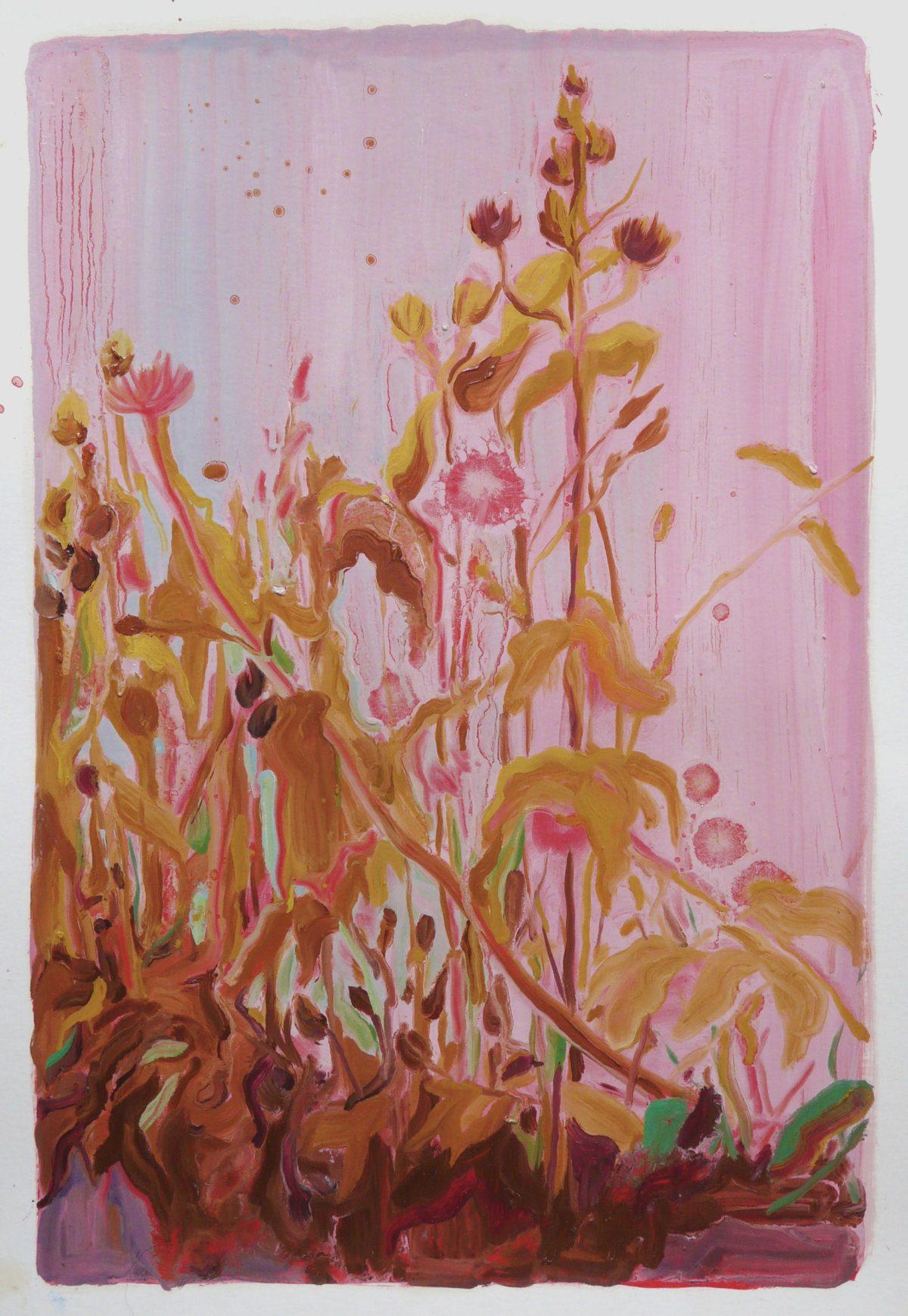 Alice Brasser Bermbloemen # 6, 50 x 35 cm, oil on paper, 2016