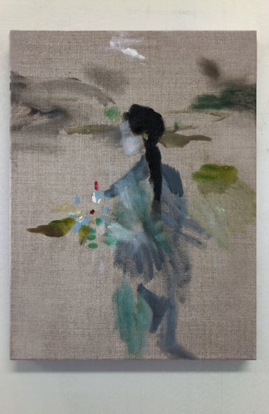 Eva Raeder Frau mit Blume, 40x30cm