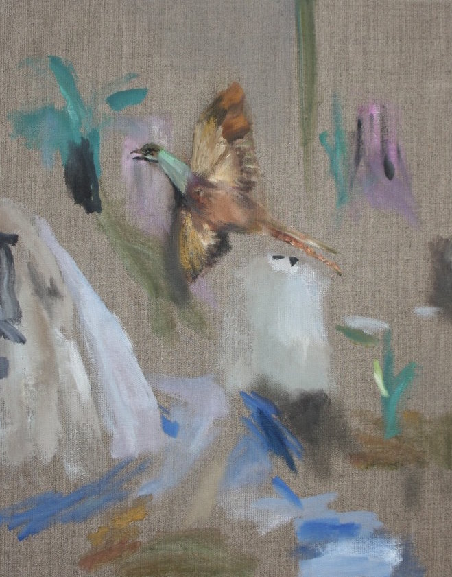 Eva Raeder, Vogel über Fels 50×40