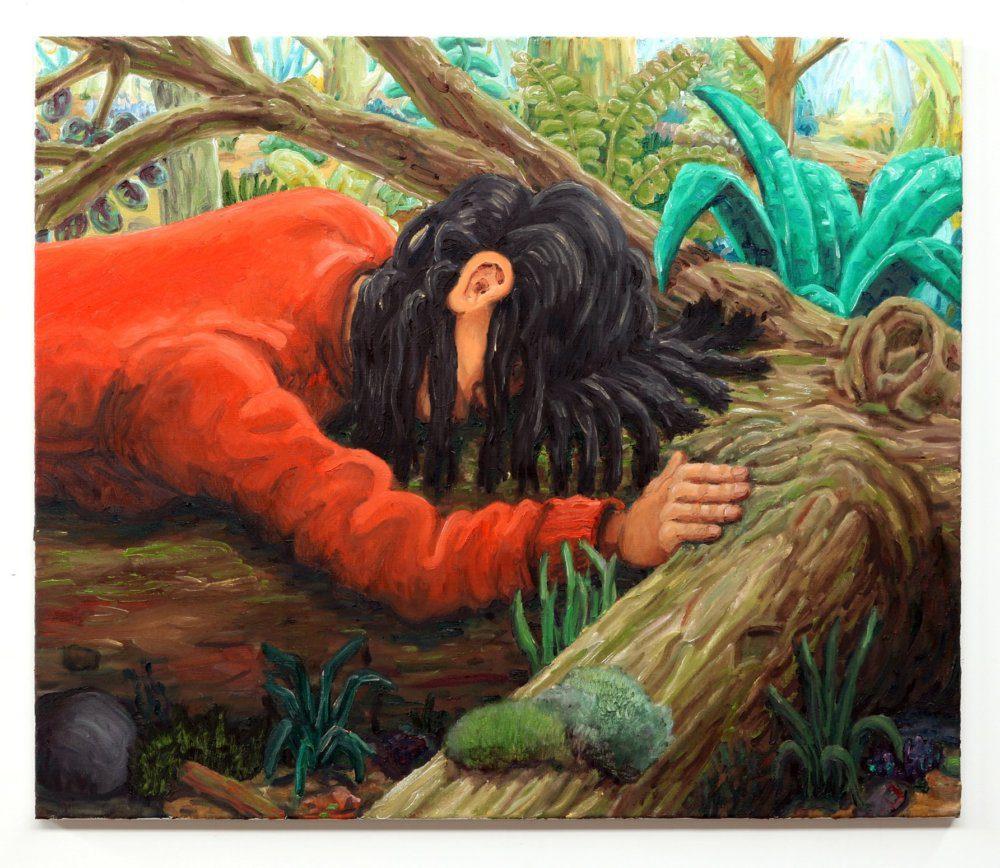 Willem Weismann, treehugger 2, oil on linen, 80 x 95 cm, 2020x