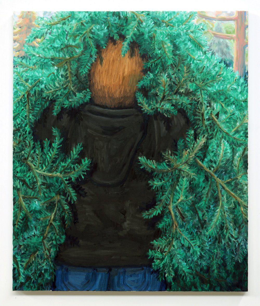Willem Weismann, treehugger IV, oil on linen, 95 x 80 cm, 2020x