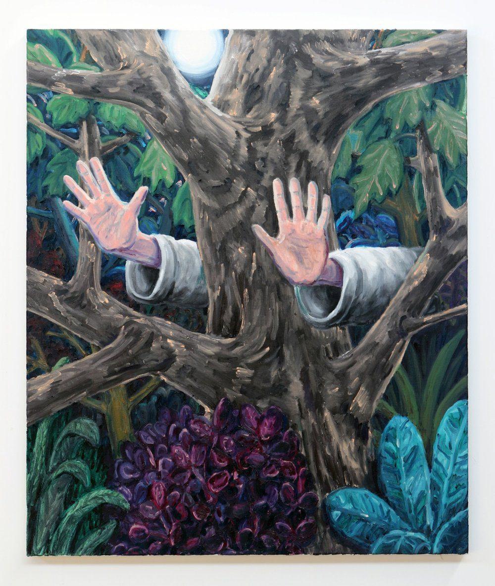Willem Weismann, treehugger (dark), 90 x 85 cm, oil on linen, 2020