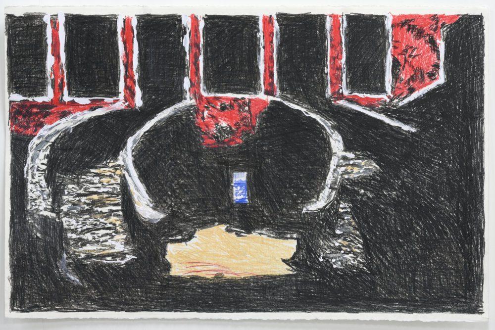 Hans Broek, Het slavenhuis (2020), tekening op papier, 66 x 101,5 cm