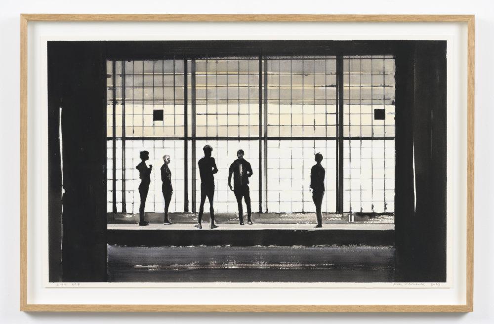 Koen Vermeule, Light Grid, 47 x 76 cm, gouache op papier